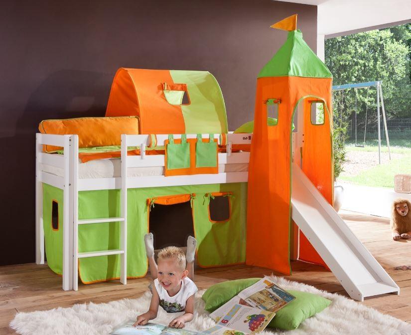 Relita 'Alex' Halbhochbett weiß, inkl. Matratze, Rutsche und großes Stoffset 'Grün/Orange' Bild 1