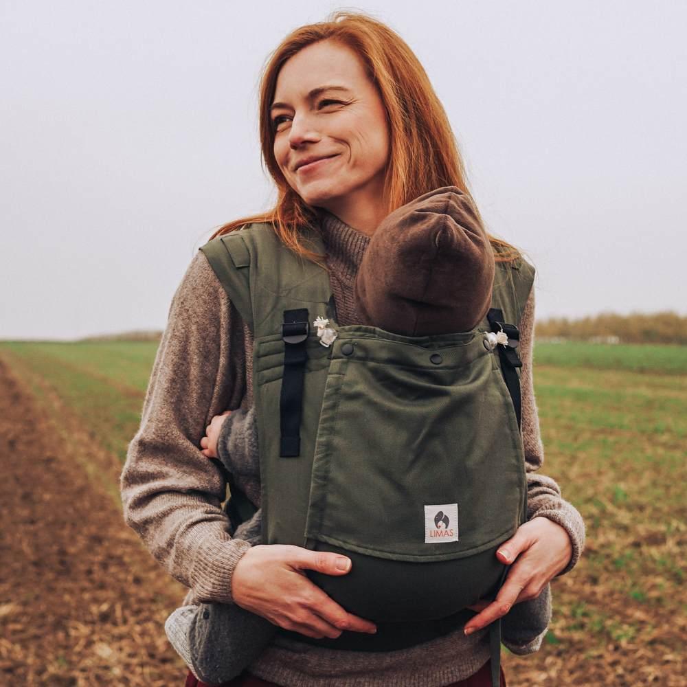 LIMAS Plus Babytrage Halfbuckle  56 – 104 cm   Bauchtrage & Rückentrage & Hüfttrage   ab Geburt bis Kleinkindalter   Baby Carrier   Olive Bild 1