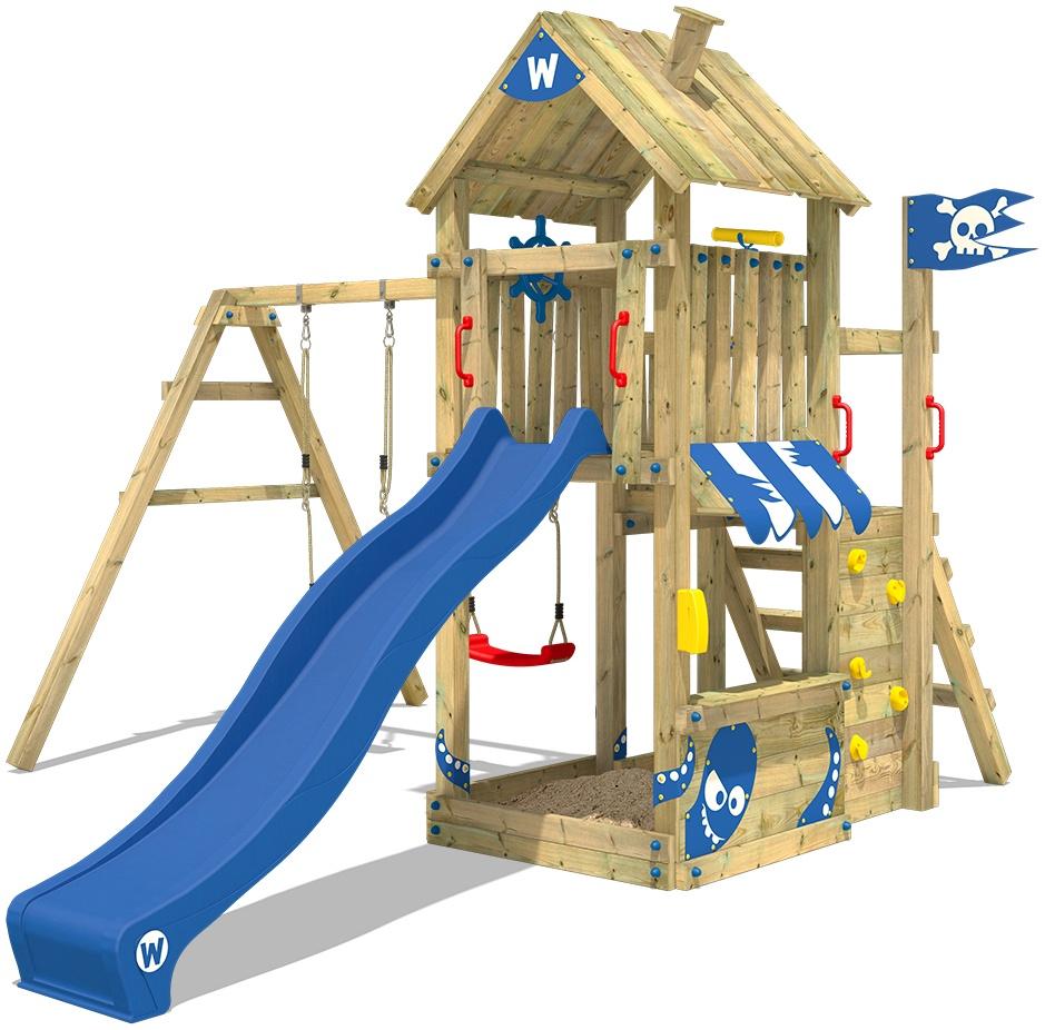 WICKEY Spielturm Klettergerüst The Proud Parrot mit Schaukel & blauer Rutsche, Kletterturm mit Sandkasten, Leiter & Spiel-Zubehör Bild 1