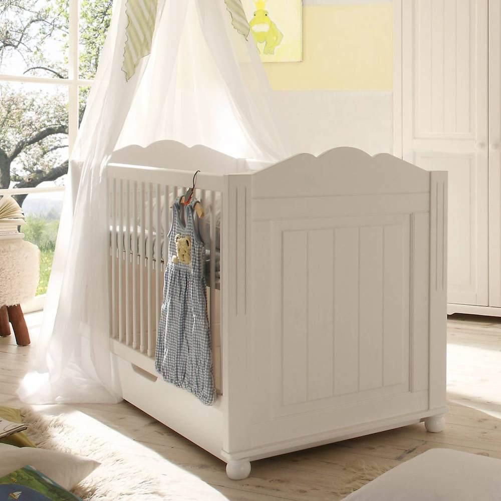 Landhaus Babybett aus Kiefer massiv mit Bettkasten MARINO-78 weiß B/H/T ca. 151x96x78cm Bild 1