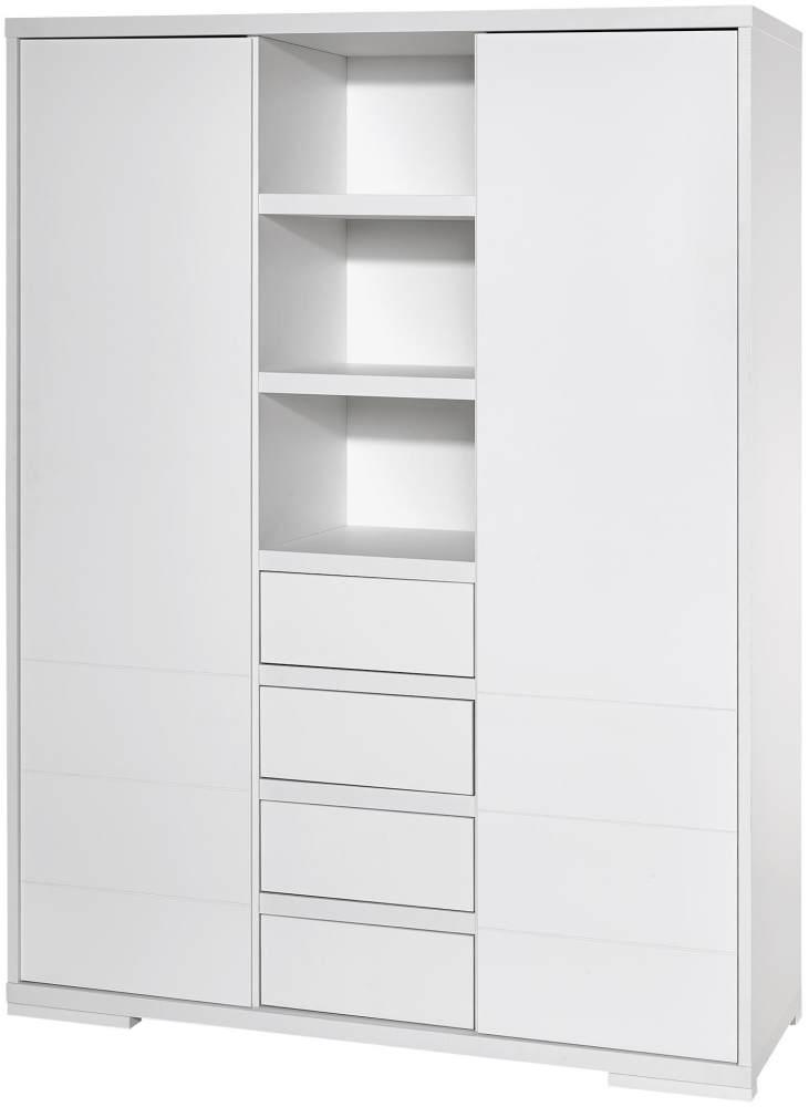 Schardt 'Maxx White' 2-trg. Kleiderschrank, weiß, mit 2 Kleiderstange, 4 Schubladen und 7 Ablagefächern Bild 1