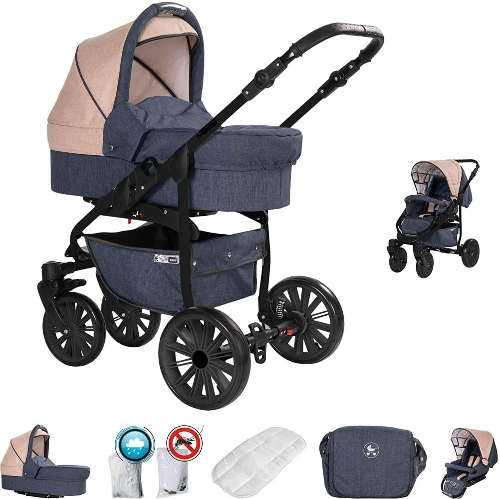 Friedrich Hugo Berlin | 2 in 1 Kombi Kinderwagen | Luftreifen | Farbe: Dark Blue and Beige Night Bild 1