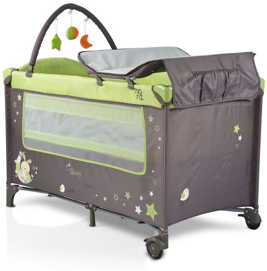 Moni Reisebett Sleepy Rollen, Wickelauflage, Matratze, Spielbogen, Seiteneingang, Farbe:grün Bild 1