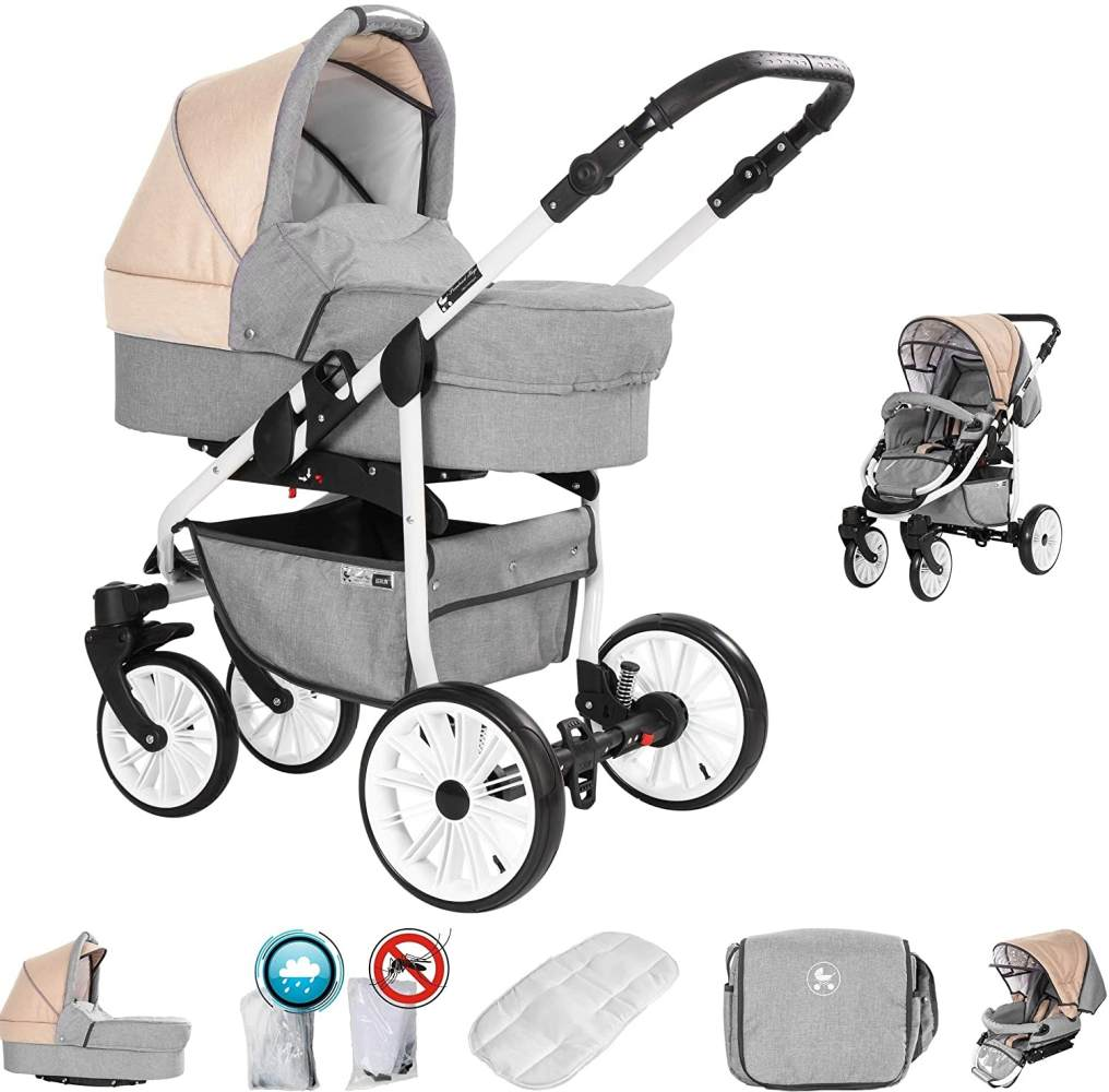 Friedrich Hugo Berlin | 2 in 1 Kombi Kinderwagen | Luftreifen | Farbe: Light Grey and Beige Day Bild 1