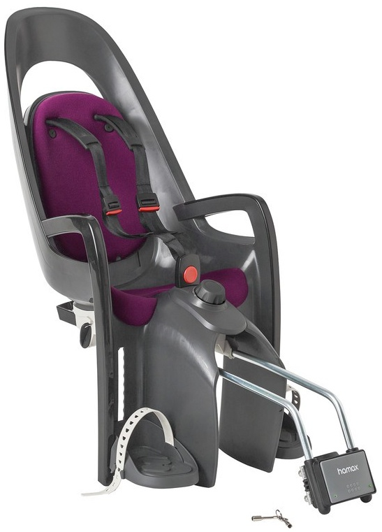 HAMAX 'Caress' Fahrrad-Kindersitz mit abschließbarer Halterung - grau/dunkelgrau/purple Bild 1