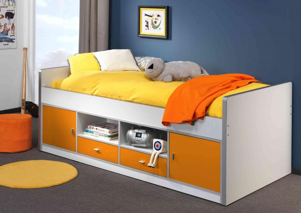 Bonny Kojenbett Jugendbett Bettgestell Kinderbett Bett 90 x 200 cm Weiß / Orange, inkl. Matratze Softdeluxe und Lattenrost17 Leisten Bild 1