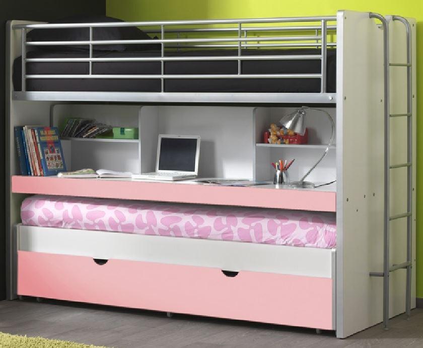 Bonny Etagenbett Doppelbett Hochbett Bett Bettgestell 90 x 200 cm Weiß / Rosa, inkl. Matratze Basic (2 Stk. ) Bild 1