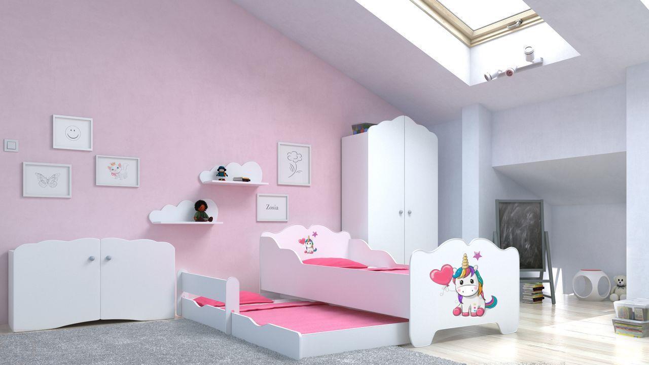 Angelbeds 'Anna' Kinderbett 80x160 cm, Motiv E1, mit Flex-Lattenrost, Schaummatratze und Schubbett Bild 1