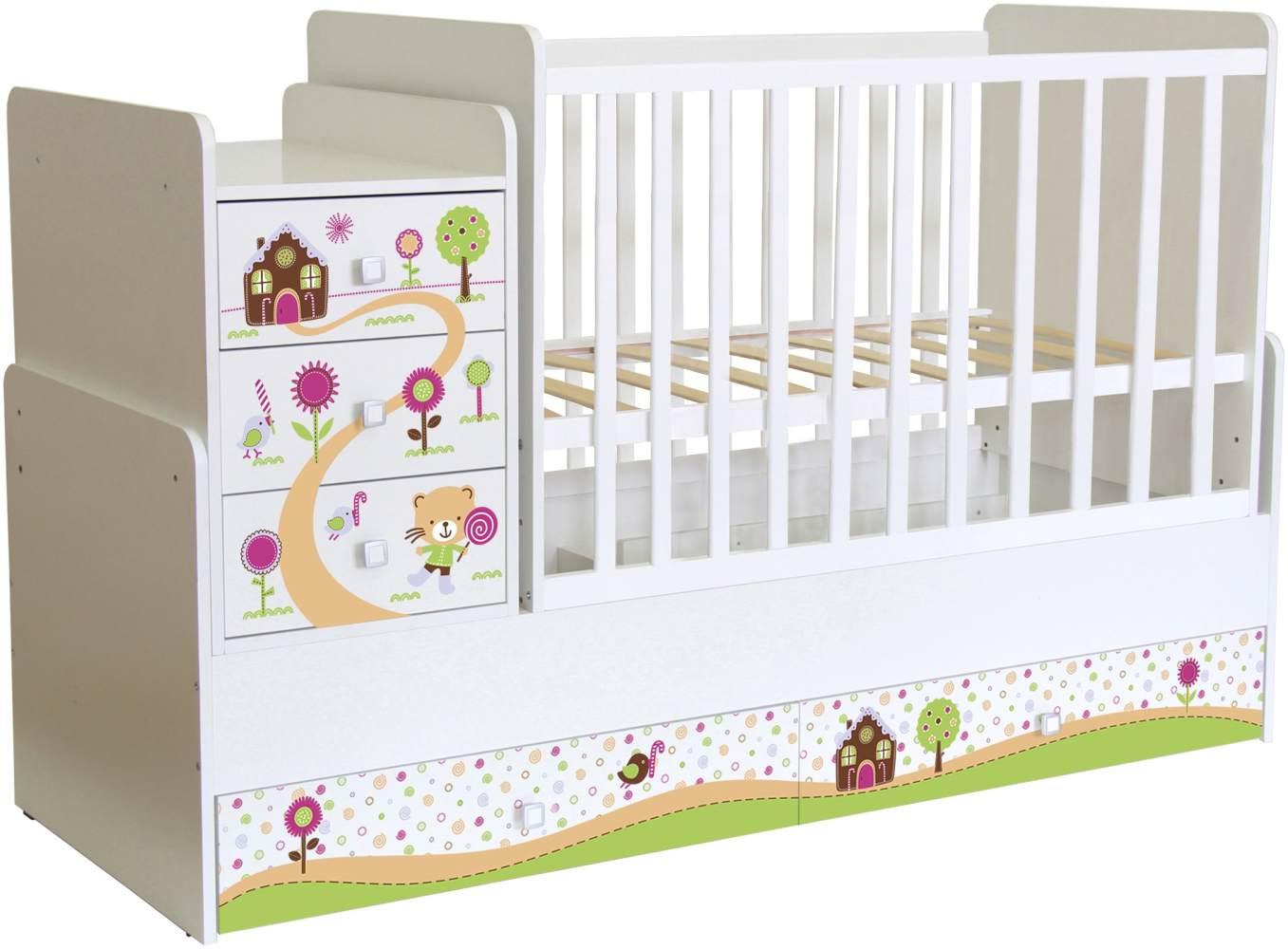 Polini Kids 'Simple 1100' Kombi-Kinderbett 60 x 120/170 cm, weiß, Zuckerhaus, höhenverstellbar, mit Schaukelfunktion, inkl. Kommode Bild 1