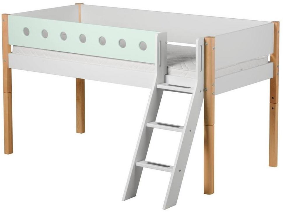 Flexa 'White' Halbhochbett weiß/natur/mint, schräge Leiter, 90x200cm Bild 1
