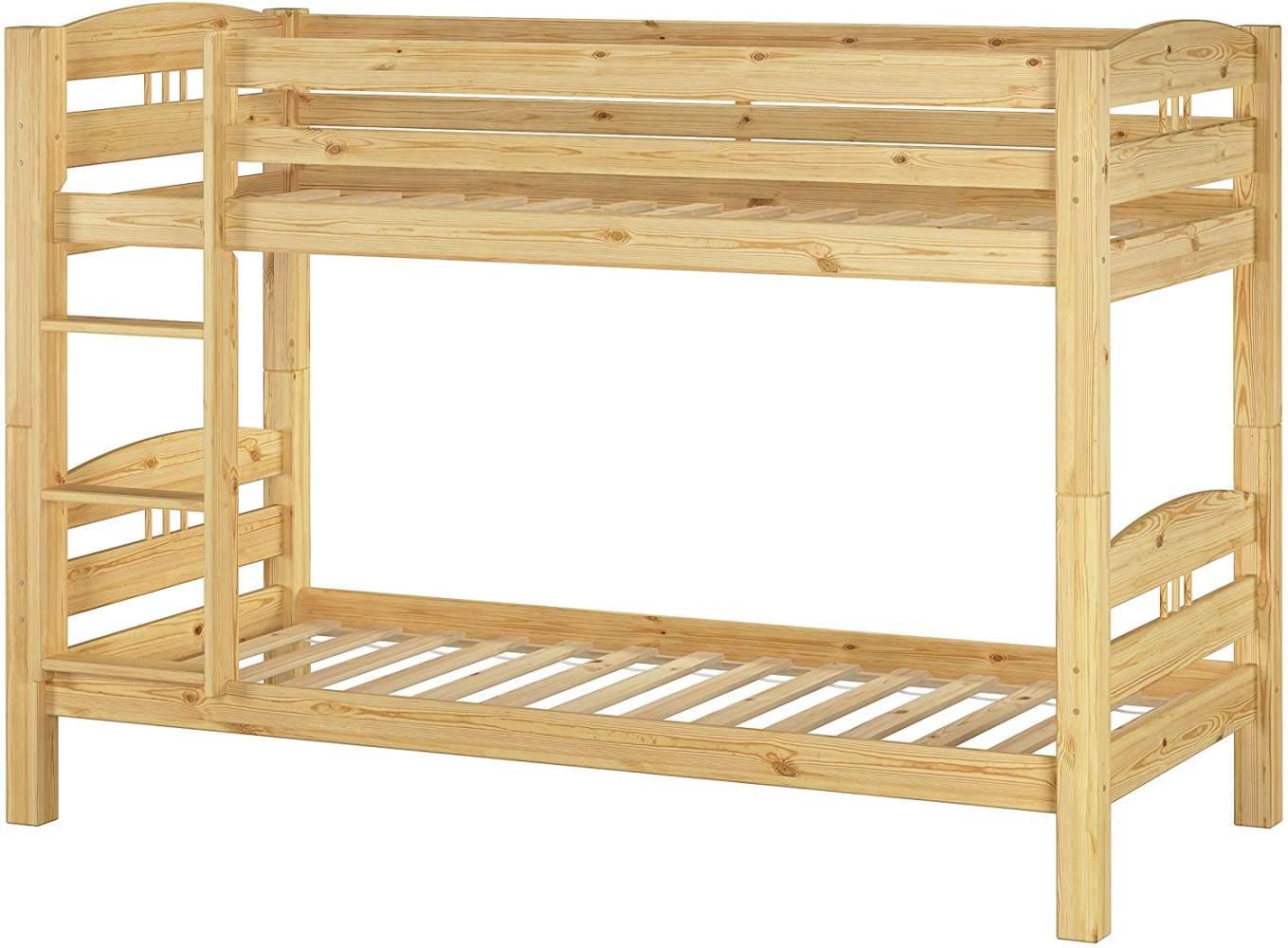 Erst-Holz Etagenbett 90x200 cm, natur, inkl. Rollroste Bild 1