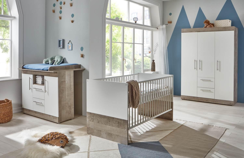 Arthur Berndt 'Selina' Babyzimmer Komplettset 3-teilig, Kinderbett (70 x 140 cm), Wickelkommode mit Wickelaufsatz und Kleiderschrank Platinum Oak / Weiß Bild 1