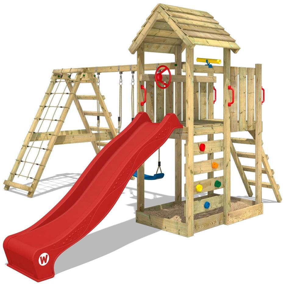 WICKEY Spielturm Klettergerüst RocketFlyer mit Schaukel & roter Rutsche, Kletterturm mit Sandkasten, Leiter & Spiel-Zubehör Bild 1
