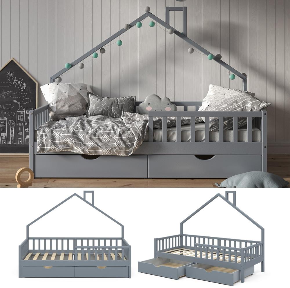 VitaliSpa 'Noemi' Hausbett grau, 90x200cm, Massivholz Kiefer, inkl. 2x Schubladen, Lattenrost und Rausfallschutz Bild 1