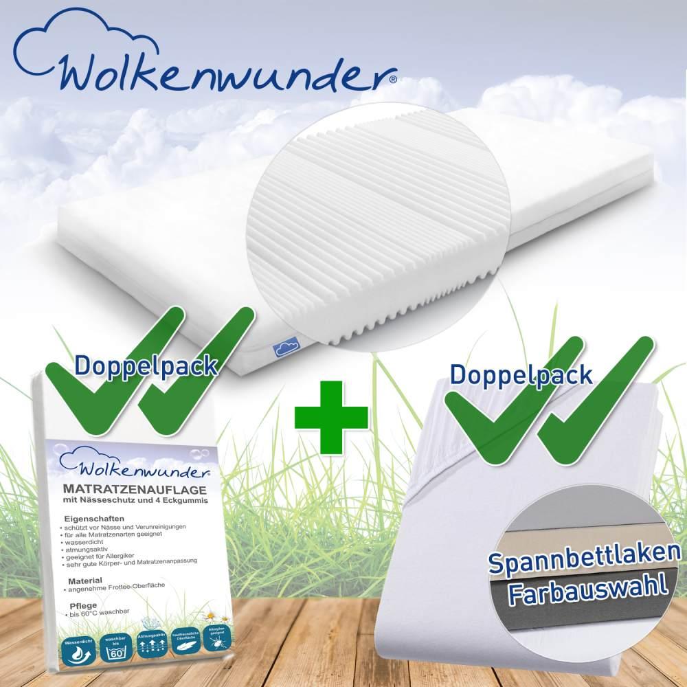 Wolkenwunder 'Multi' Matratze, mittlere Härte, 100x200 cm, inkl. 2 Hygieneauflagen & 2 Spannbettlaken, weiß Bild 1