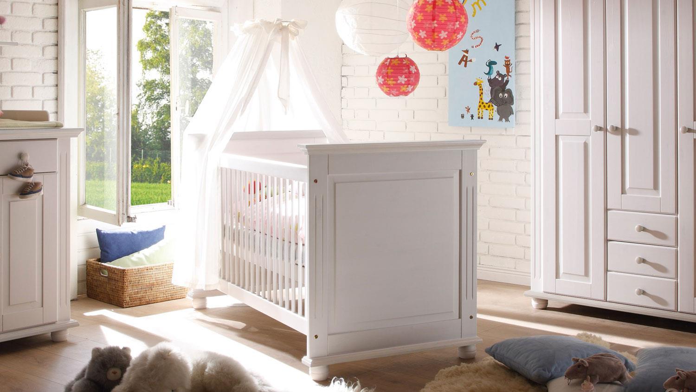 Stella Trading LAURA Sicheres Babybett mit 70 x 140 cm Liegefläche - Schönes Baby Gitterbett für einen geborgenen Schlaf in Kiefer massiv, weiß - 85 x 93 x 154 cm (B/H/T) Bild 1