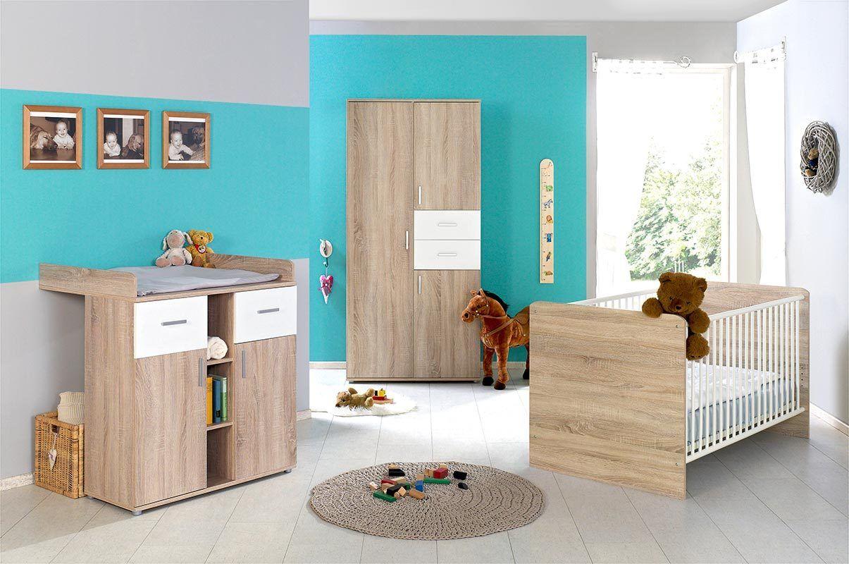 3-tlg. Babyzimmer-Set 'ELISA 1' Eiche Sonoma / Weiß Bild 1