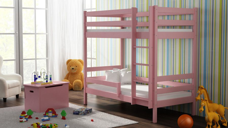 Kinderbettenwelt 'Peter' Etagenbett 80x190 cm, rosa, Kiefer massiv, inkl. Lattenroste Bild 1