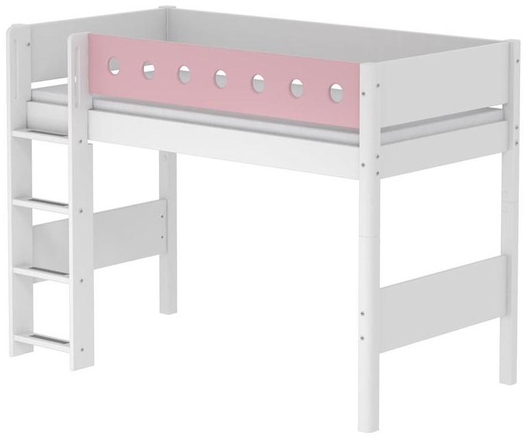 Flexa 'White' Halbhochbett weiß/rosa, gerade Leiter, 90x200cm Bild 1