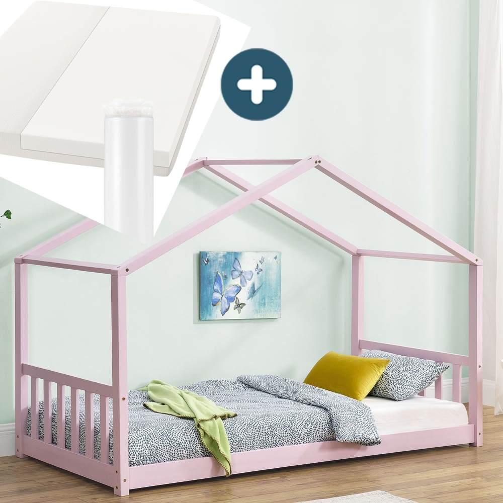 Juskys 'Paulina' Hausbett 90 x 200 cm, rosa, mit Lattenrost und Matratze, Kiefer massiv Bild 1