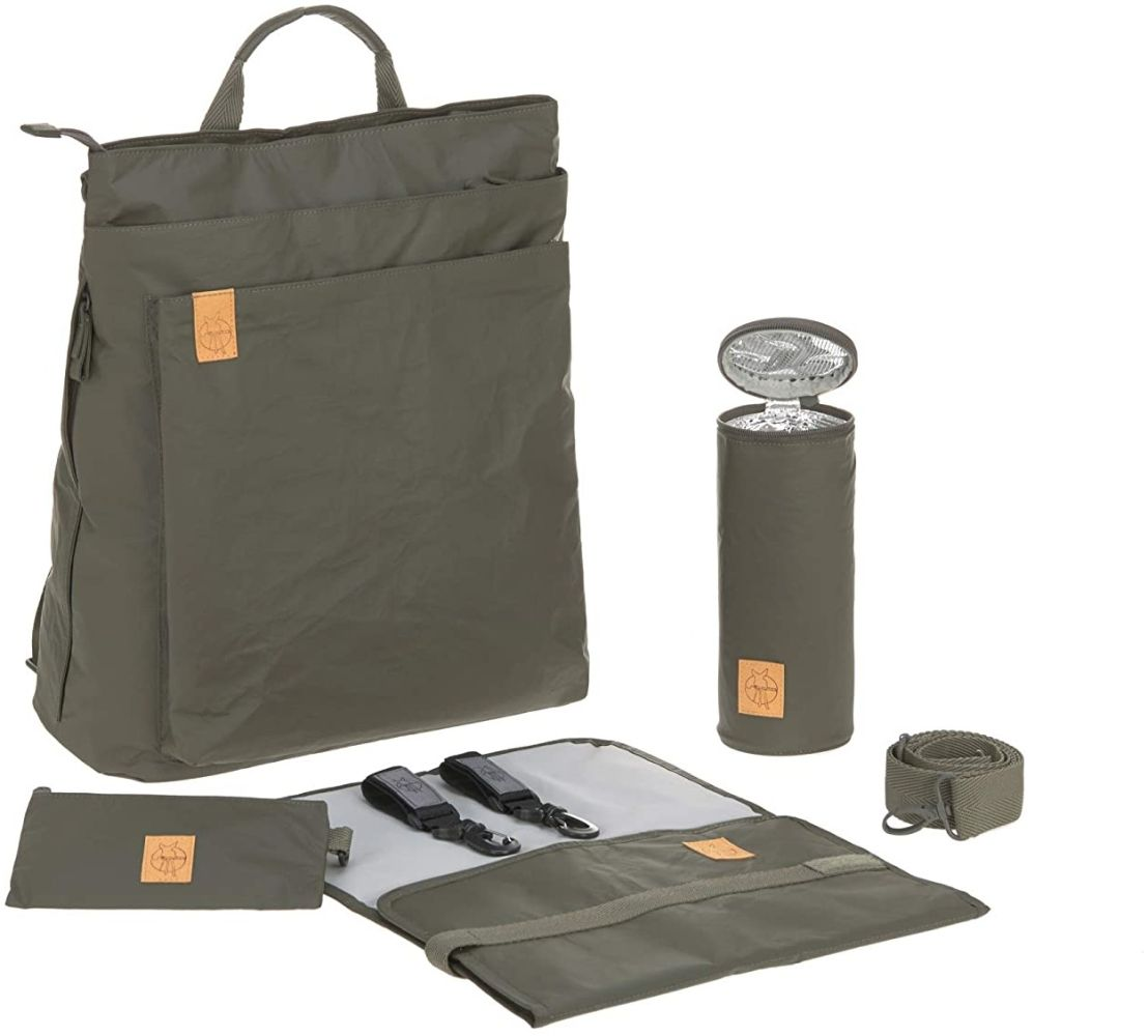 LÄSSIG Baby Wickelrucksack Wickeltasche inkl. Zubehör nachhaltig produziert/Green Label Tyve Backpack, olive Bild 1