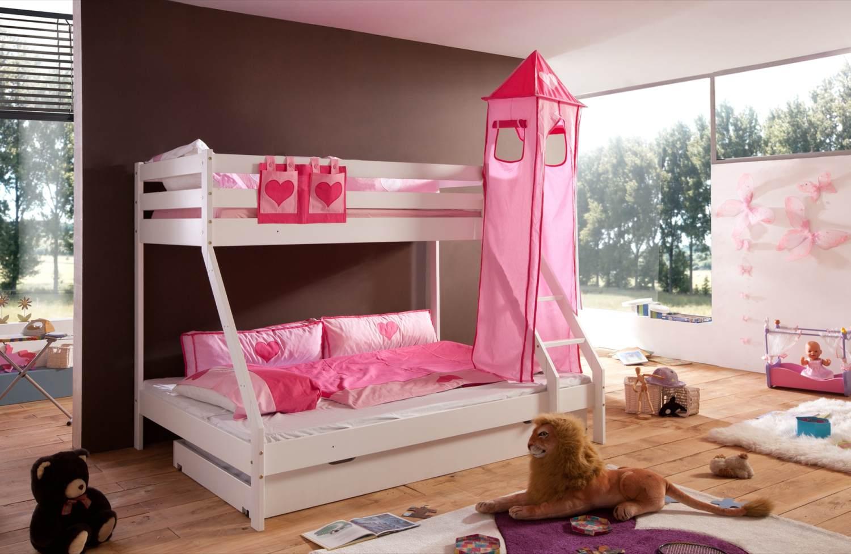 Relita 'Mike' Etagenbett weiß inkl. Bettschublade und Textilset Turm und Tasche 'pink/herz' Bild 1