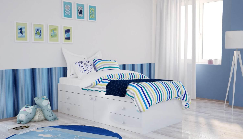 Polini Kids Jugendbett Stauraumbett Simple 3100 weiß Bild 1