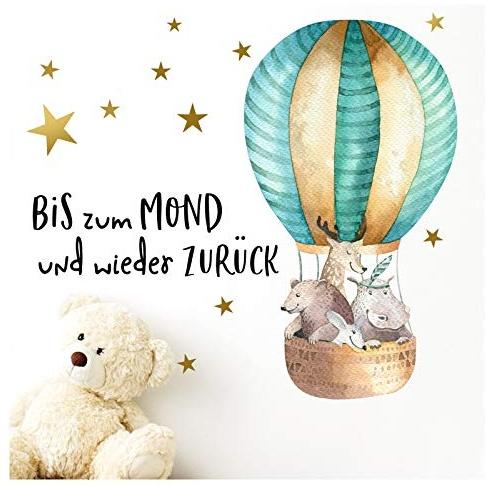 Little Deco Aufkleber Waldtiere im Heißluftballon & Spruch Bis zum Mond I 92 x 47 cm Bild 1