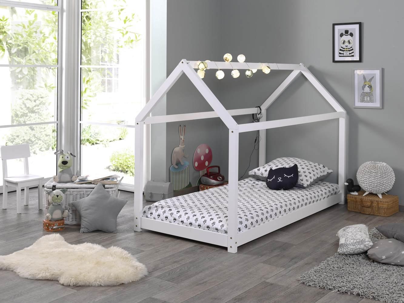 Vipack Hausbett Liegefläche 90 x 200 cm weiß Bild 1