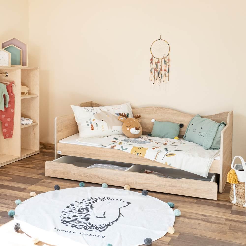 Alcube 'Sofie' Kinderbett, 80x160 cm, Sonoma eiche, inkl. Schublade, Matratze und Rausfallschutz Bild 1