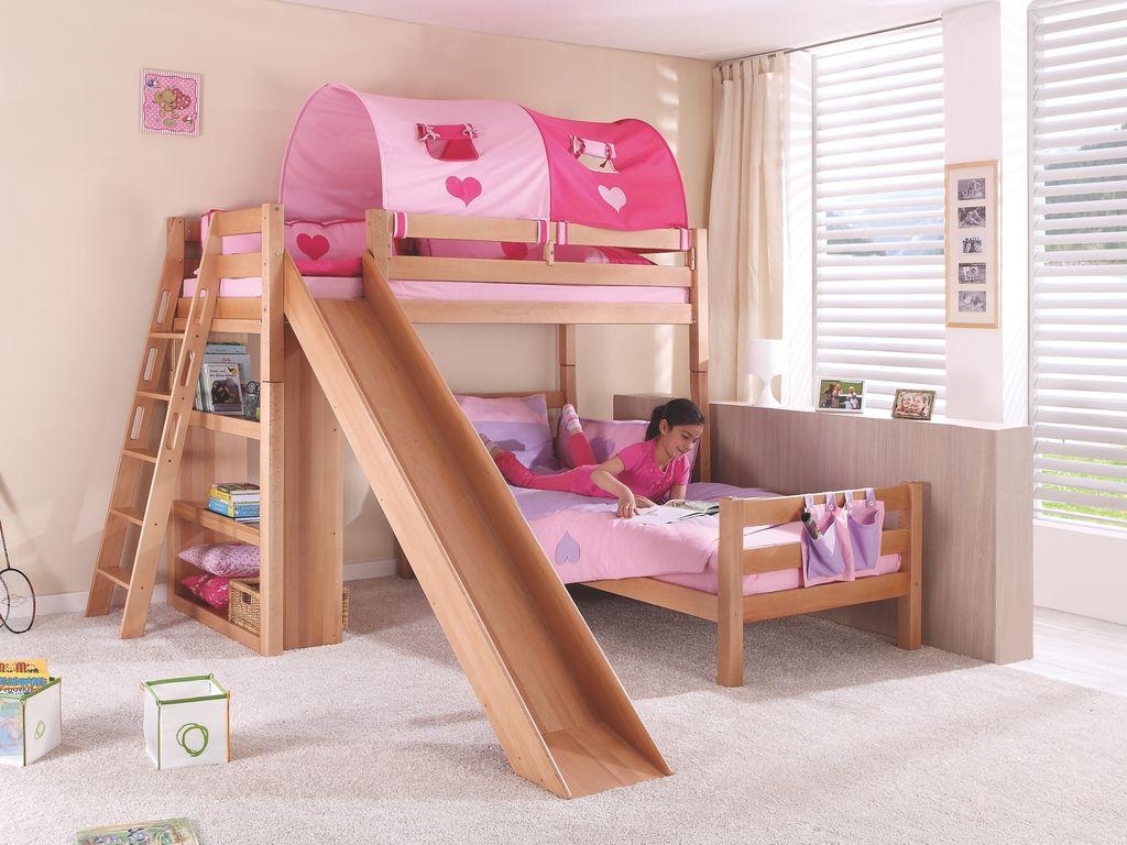 Relita 'SKY' Etagenbett mit Rutsche natur, Stoffset 'Pink/Herz' mit 2 Matratzen Bild 1