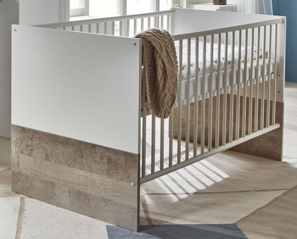 Arthur Berndt 'Selina' Kinderbett 70 x 140 cm inkl. Lattenrost 4-fach höhenverstellbar Weiß / Platinum Oak Bild 1