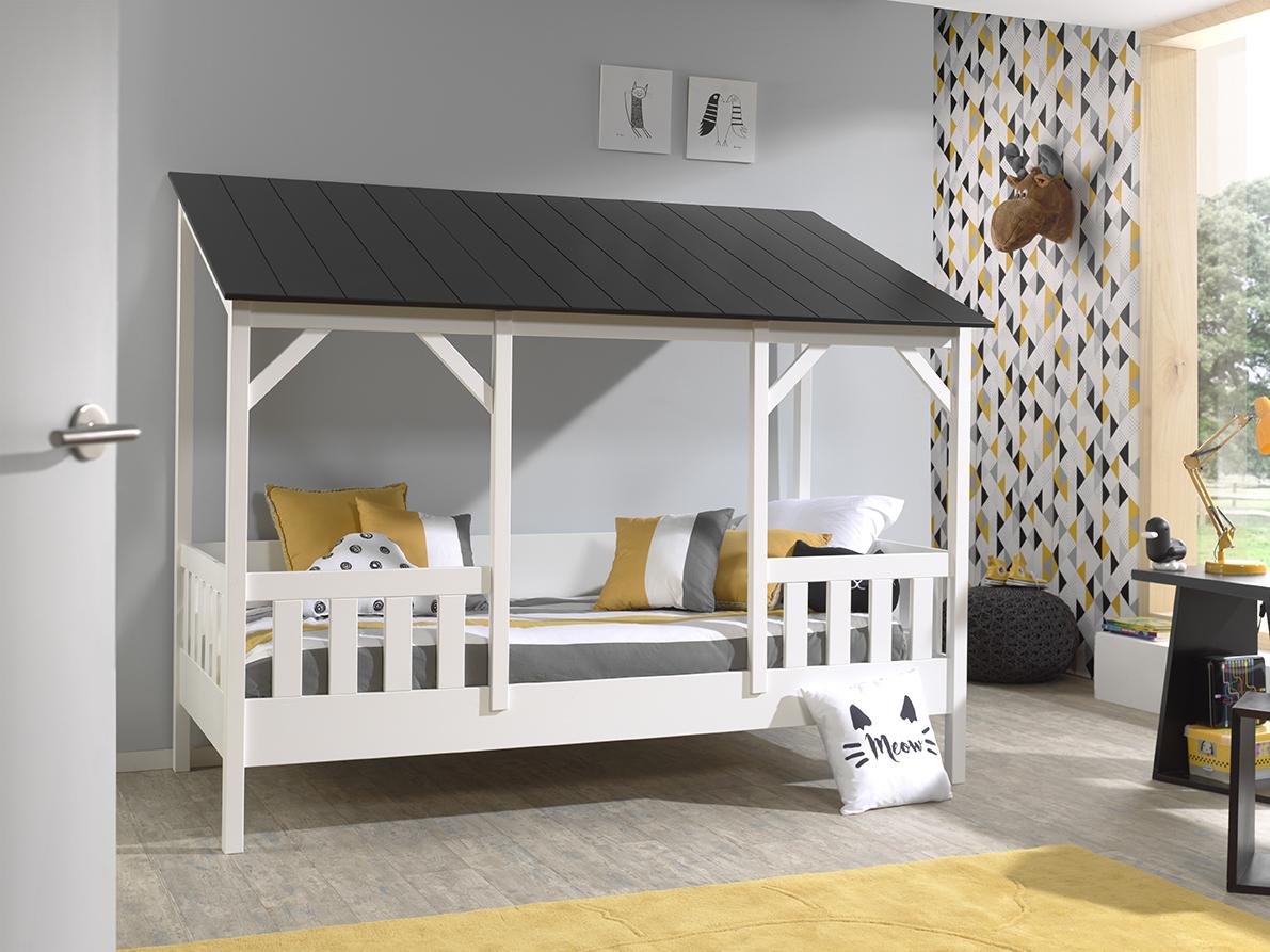 Vipack Hausbett 90x200 cm, weiß, Dach in schwarz Bild 1