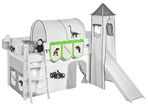 Lilokids 'Dinos' Hängetaschen Grün Beige - für Hochbett, Spielbett und Etagenbett Bild 1