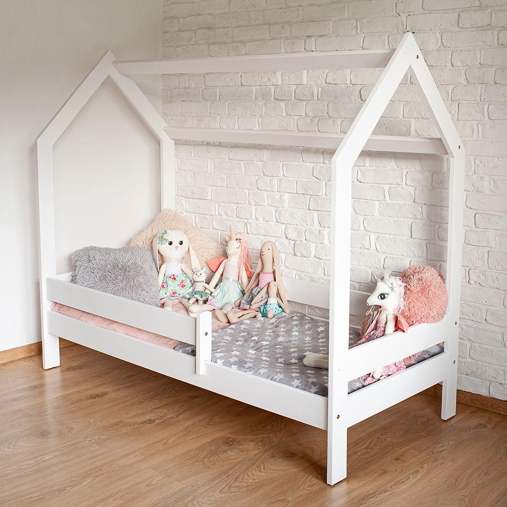 Kinderbettenwelt 'Sweety' Hausbett 80x160 cm, Weiß, Kiefer massiv, inkl. Rollrost und Schublade Bild 1