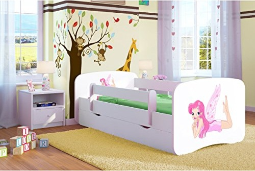Kocot Kids 'Fee mit Flügeln' Einzelbett weiß 70x140 cm inkl. Rausfallschutz, Matratze, Schublade und Lattenrost Bild 1