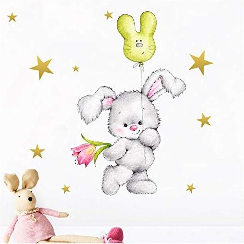 Little Deco 'Mädchen Hase mit Sternen' Kinderzimmer Wandtattoo 50 x 95 cm Bild 1