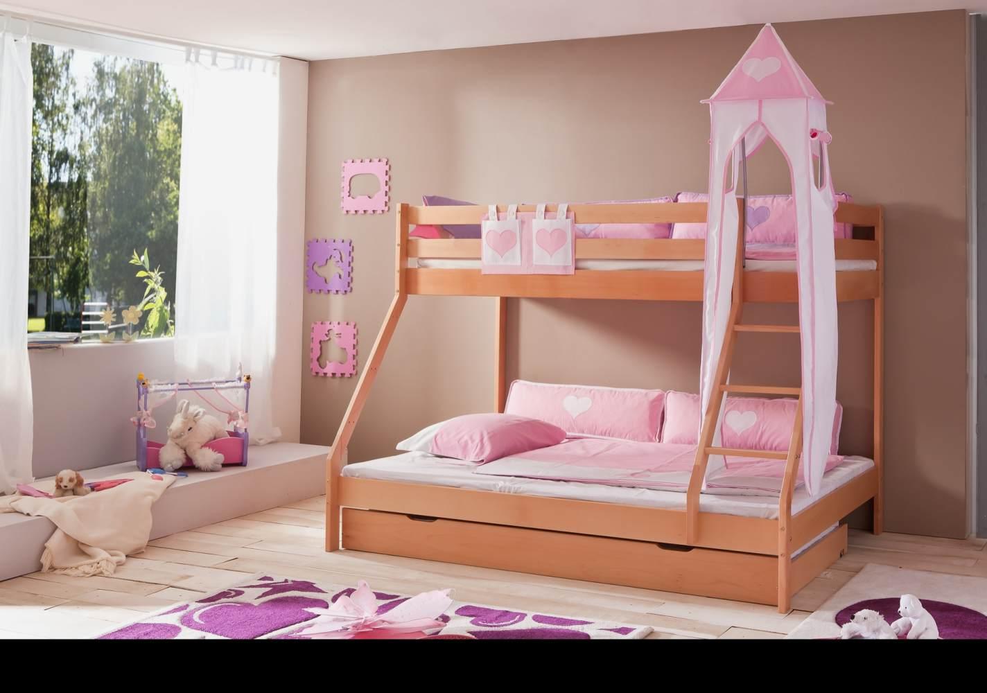 Relita 'Mike' Etagenbett natur inkl. Bettschublade und Textilset Turm und Tasche 'rosa/weiß' Bild 1