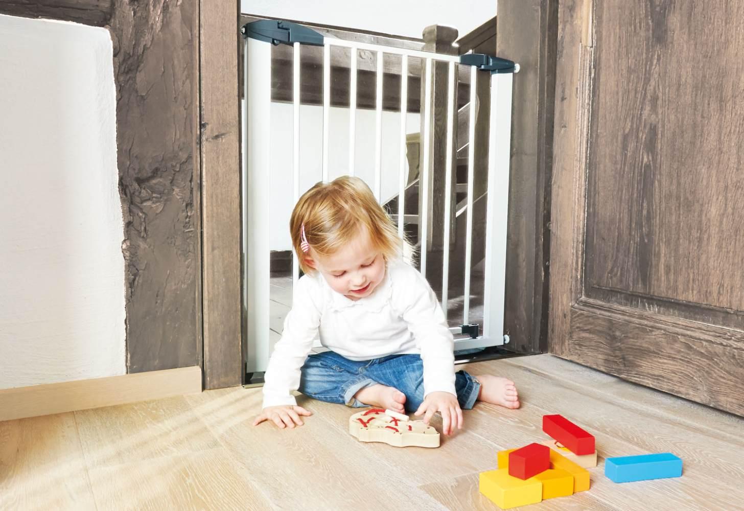 Pinolino 'Baby Lock Classic' Tür- und Treppenschutzgitter, für Türbreiten 69,5 cm bis 76,5 cm, zum Schrauben, Metall, Weiß Bild 1