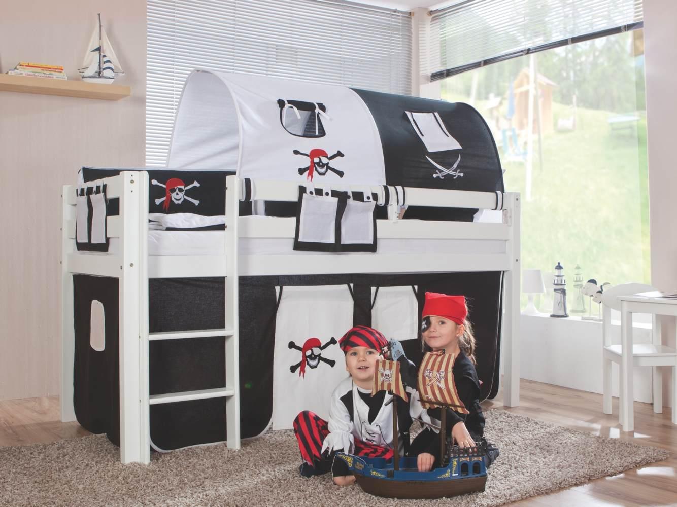 Relita Halbhohes Spielbett ALEX Buche massiv weiß lackiert mit Stoffset Pirat Bild 1