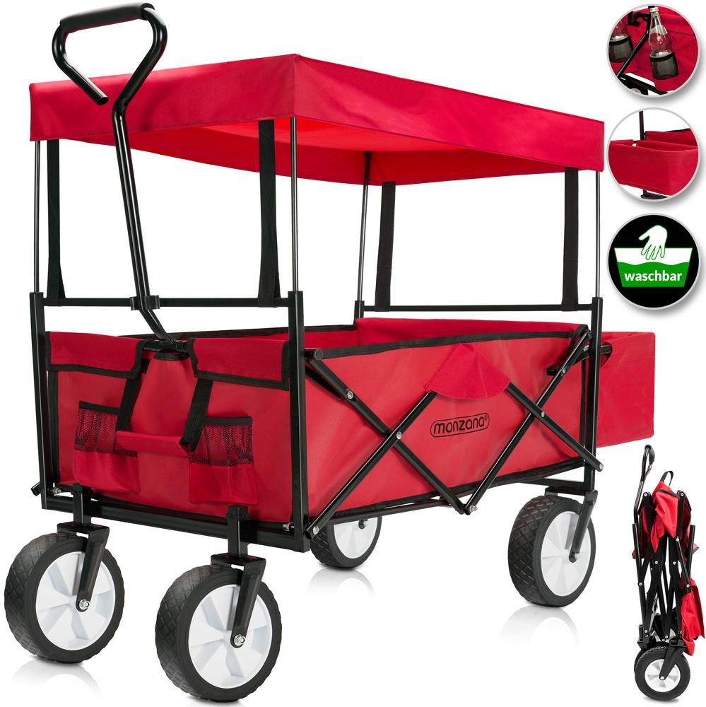 Bollerwagen/Handwagen faltbar mit abnehmbarem Dach rot Bild 1