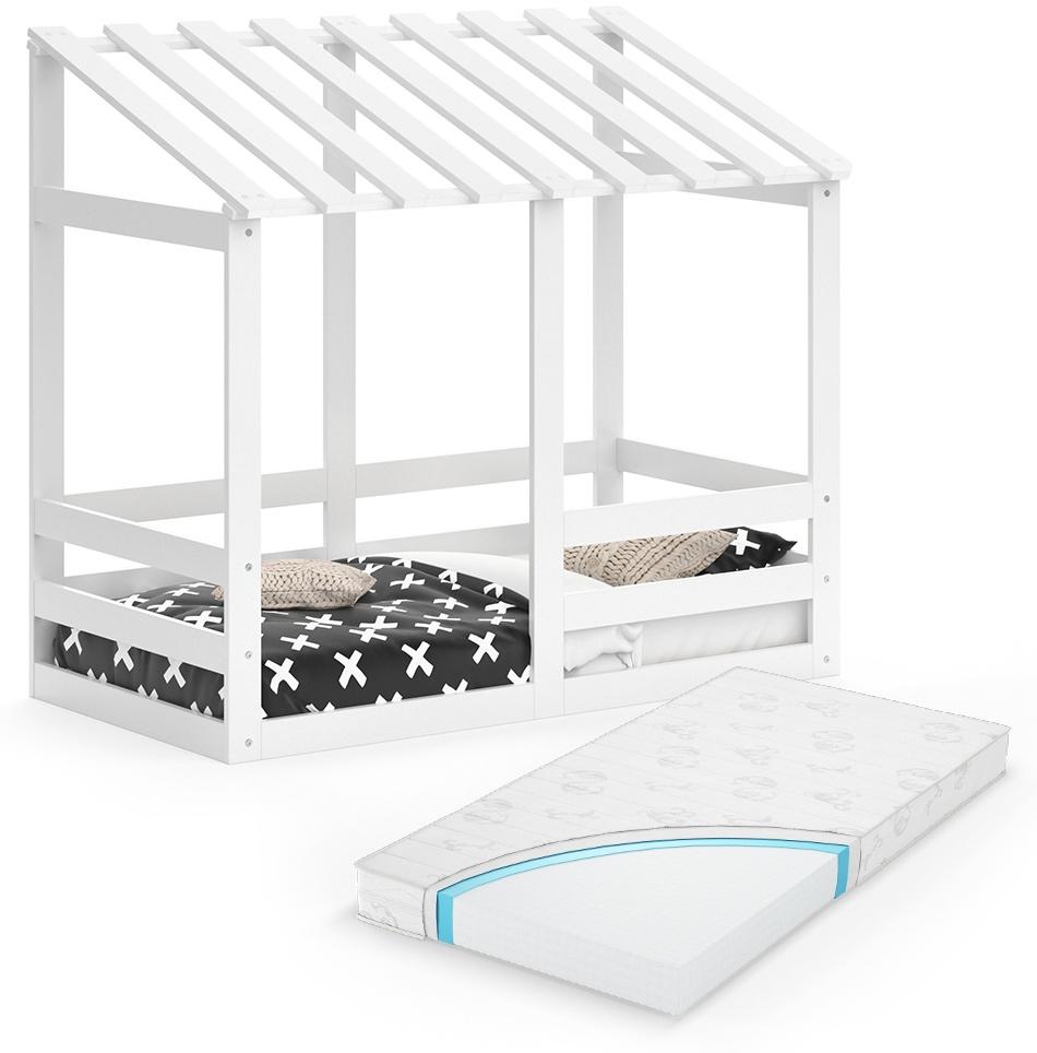 VitaliSpa 'Silvia' Hausbett, weiß, 70x140cm, Massivholz Buche inkl. Matratze, Lattenrost und Rausfallschutz Bild 1