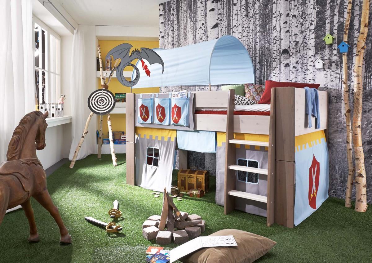 Steens Hochbett weiß, 90x200 cm, inkl. Textil-Set Ritter Bild 1