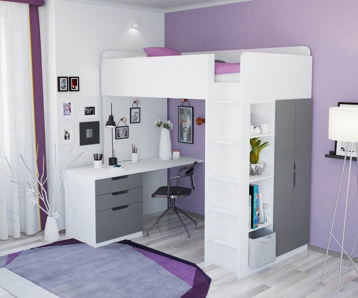 Polini Kids Funktions-Hochbett weiß/grau, inkl. Kleiderschrank und Schreibtisch Bild 1