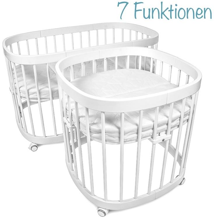 tweeto Beistellbett 7-in-1, weiß, höhenverstellbar, rollbar, auch als Sitzgruppe, Laufgitter, Stubenwagen und Kinderbett nutzbar Bild 1