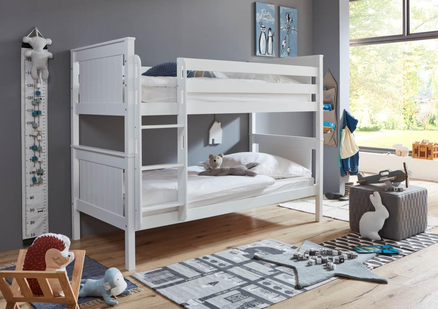 Relita Etagenbett Mia Kinderbett Weiß 90x200cm mit Leiter Bild 1