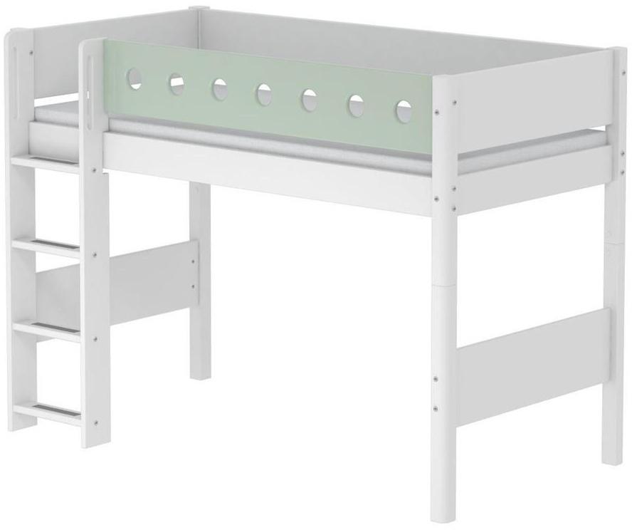 Flexa 'White' Halbhochbett weiß/mint, gerade Leiter, 90x190cm Bild 1