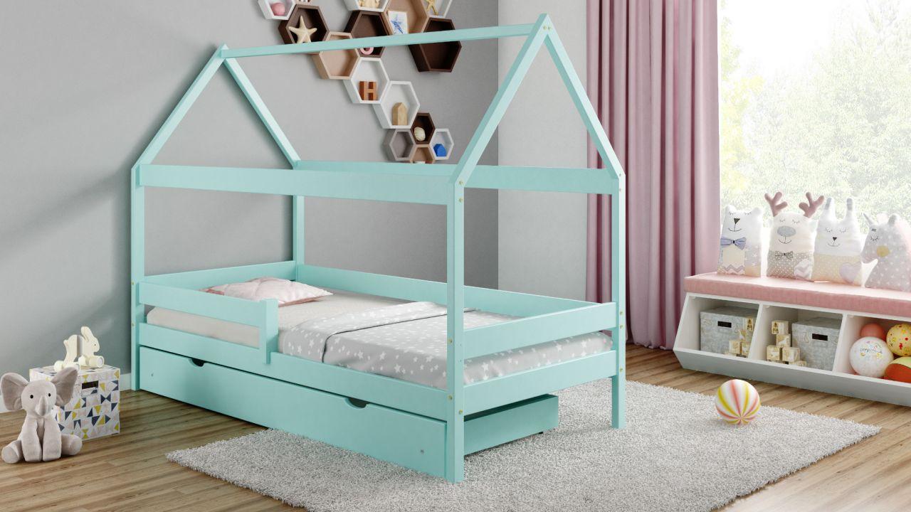 Kinderbettenwelt 'Home Plus' Hausbett 80x160 cm, türkis, Kiefer massiv, mit Schublade und Matratze Bild 1