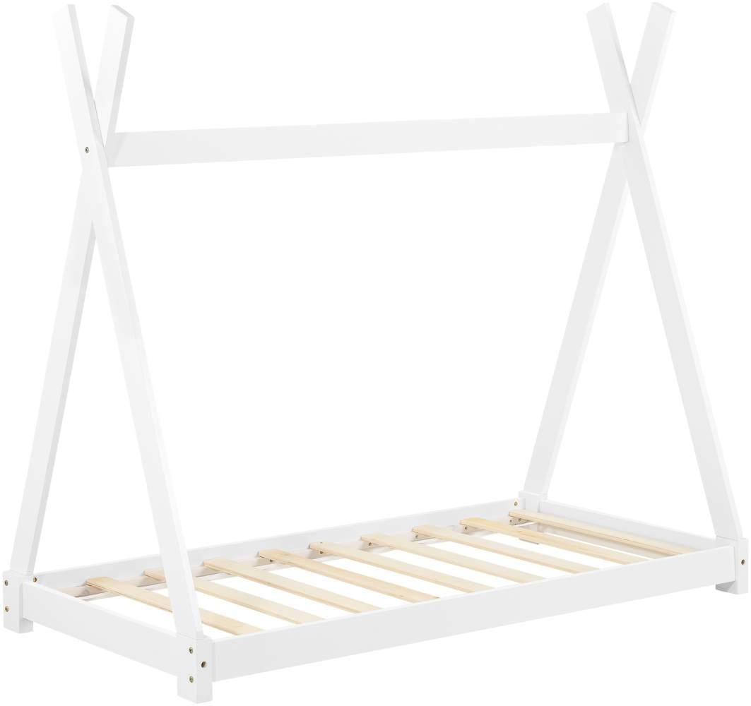 [en.casa] Tipi-Bett Weiß 80x160 cm inkl. Lattenrost Bild 1