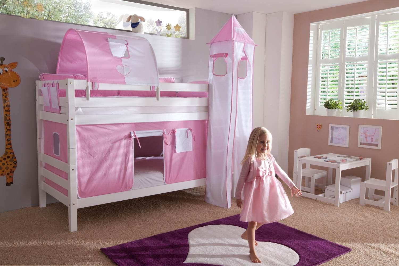 Etagenbett BENI Buche massiv weiß lackiert mit Textilset rosa/weiß/herz Bild 1